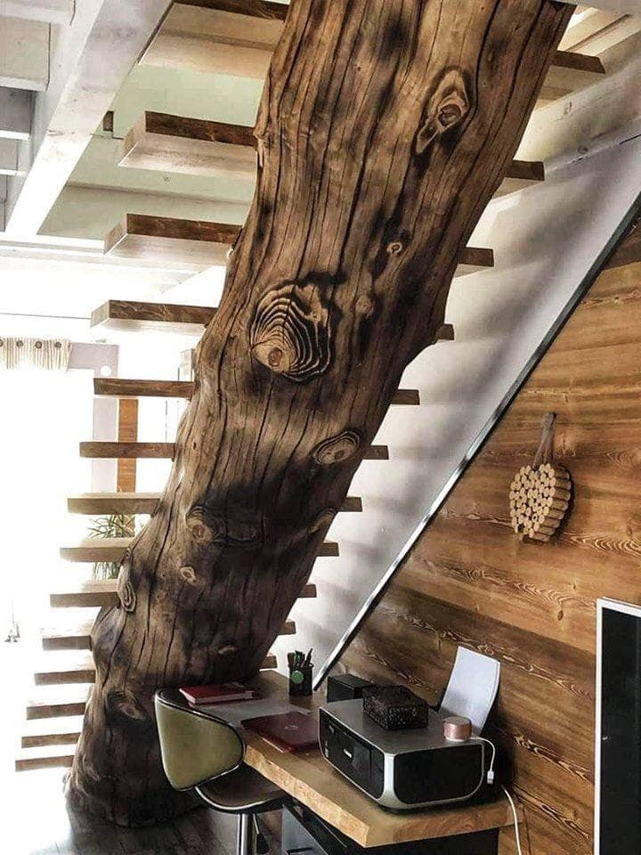 rustic interior stairs